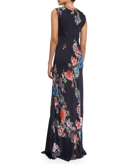 Augustine Sleeveless Floral-Print Maxi Dress
