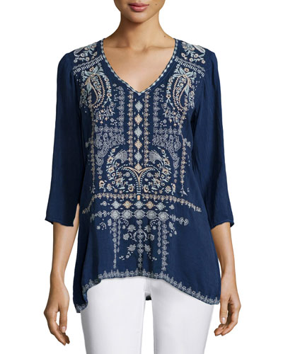 Paizyn 3/4-Sleeve Embroidered Blouse, Blue Night