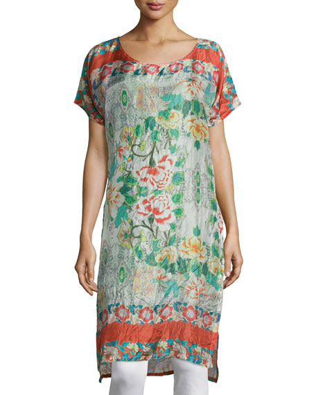 Johnny Was Collection Ruru Short-Sleeve Printed Tunic, Multi Colors
