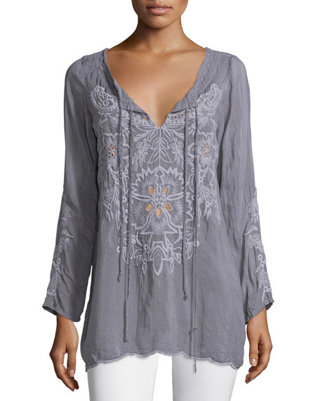 Johnny Was Collection Vomera Embroidered Tie-Neck Tunic, Plus Size