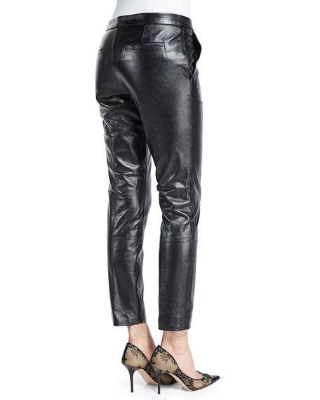 Slim Leather Pants, Black