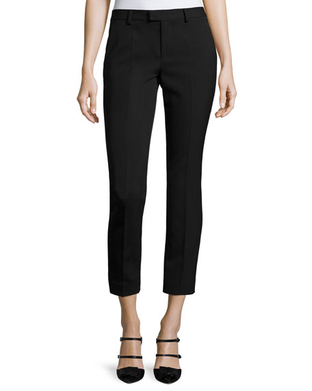 RED Valentino Mid-Rise Skinny Ankle Trousers, Black