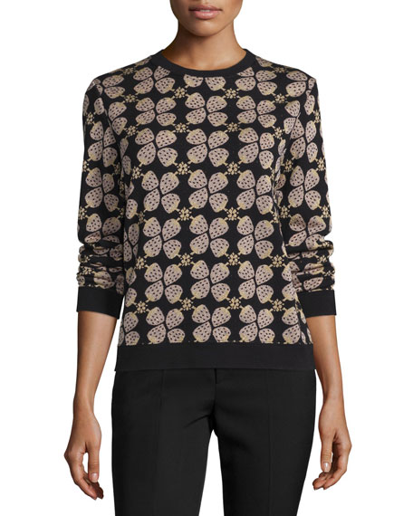 RED Valentino Long-Sleeve Strawberry-Print Sweater, Multi Colors