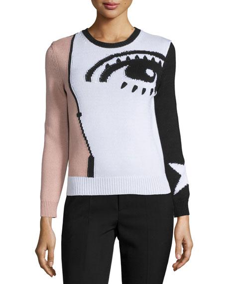 Eye Long-Sleeve Intarsia Sweater, Multi Colors