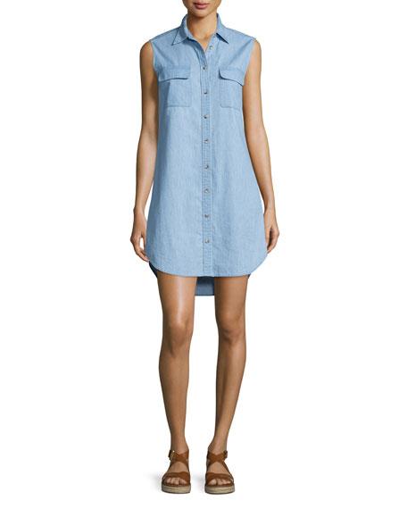 Equipment Slim Signature Sleeveless Shirtdress, Blue