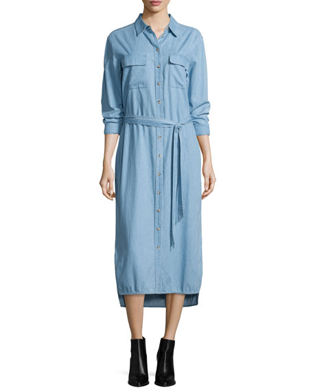 Equipment Delany Button-Front Belted Shirtdress, Sky Blue