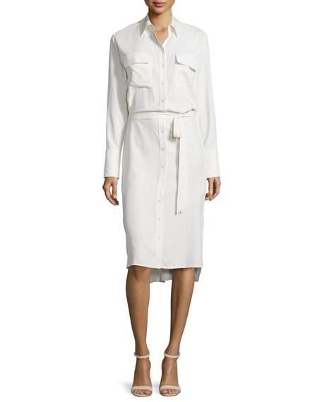 Equipment Delany Button-Front Shirtdress, White
