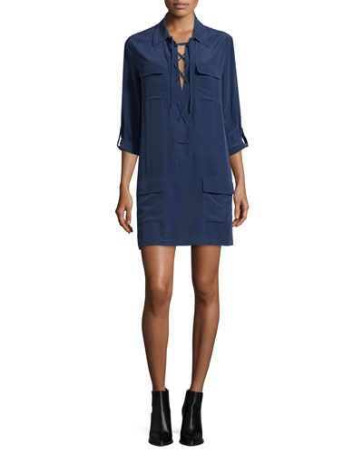 Equipment Knox Lace-Up Shift Dress, Peacoat