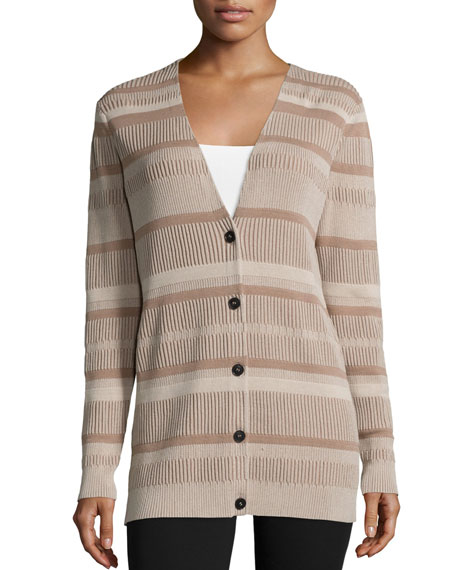 Lafayette 148 New York Vanise Button-Front Striped Cardigan, Khaki/Multi