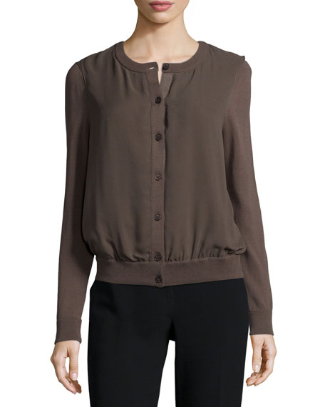 Lafayette 148 New York Georgette Overlay Knit Cardigan, Granite