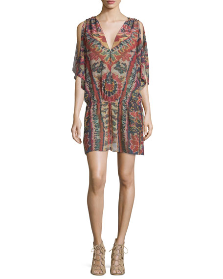 Figue Lupita Half-Sleeve V-Neck Tunic Top, Red Lotus