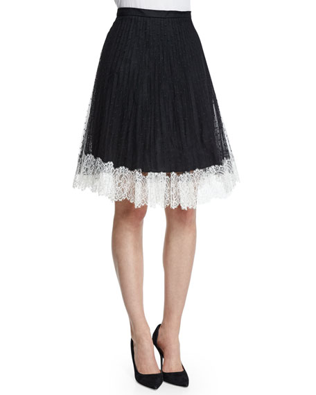 RED Valentino Lace Full Skirt W/Contrast Hem, Black