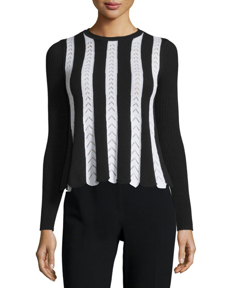 RED Valentino Long-Sleeve Striped Knit Top