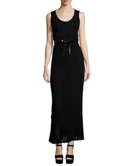 RED Valentino Sleeveless Scoop-Neck Crochet Dress, Black