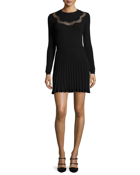 RED Valentino Long-Sleeve Scallop Lace-Inset Dress, Black