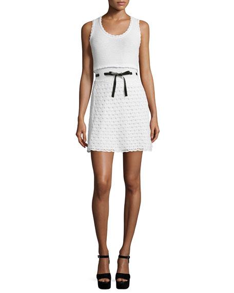 RED Valentino Sleeveless Scoop-Neck Crochet Dress, Ivory/White