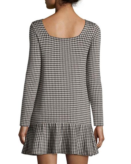 Long-Sleeve Houndstooth Drop-Waist Dress, Black/Ivory