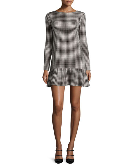 RED Valentino Long-Sleeve Houndstooth Drop-Waist Dress, Black/Ivory