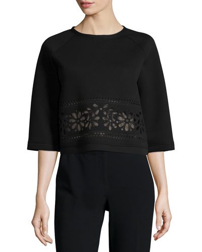 Half-Sleeve Cutout-Waist Boxy Top, Black