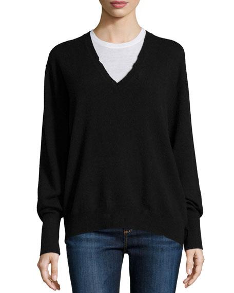 RtA Chris V-Neck Cashmere Sweater, Black Lash