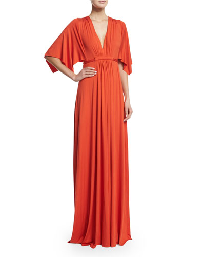 Solid V-Neck Caftan Dress, Caliente