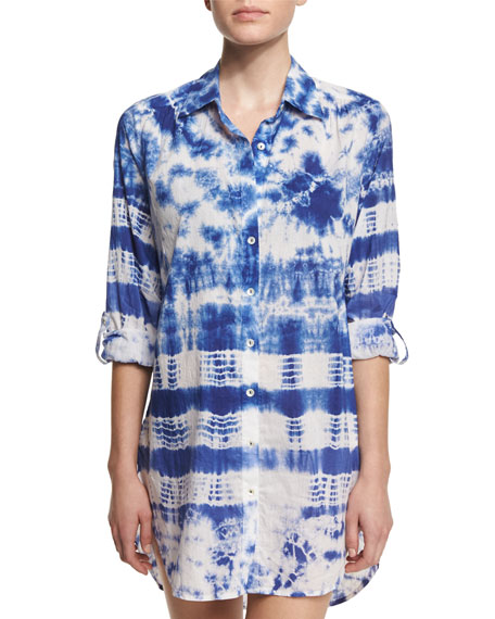 La Blanca Tie-Dye Long-Sleeve Shirtdress Coverup