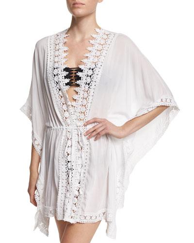 Crochet-Trim Kimono Coverup
