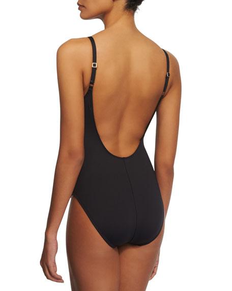 La Blanca Netted-Insert Plunge One-Piece Swimsuit