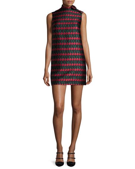 RED Valentino Sleeveless Cherry-Print Shift Dress, Black