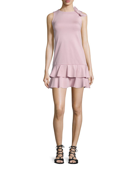 RED Valentino Ruffled Dress W/Side-Bow Detail, Lilac