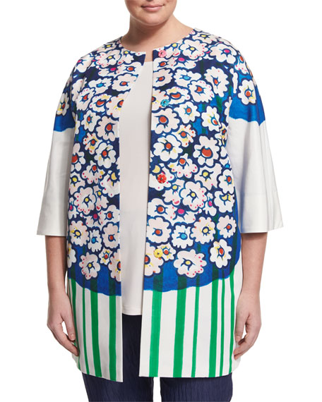 Marina Rinaldi Ciclad Flower-Print Jacket, Zampillo Stretch
