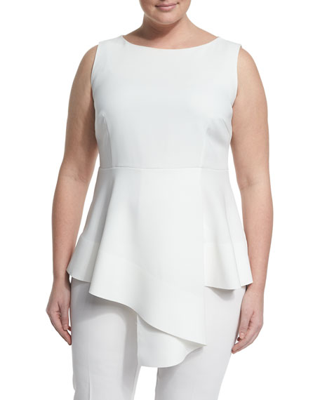 Fioretto Belted Asymmetric Peplum Top W/ Attachable Sleeves, Plus Size