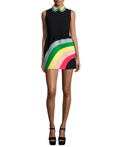RED Valentino Sleeveless Rainbow Mini Shirtdress, Black