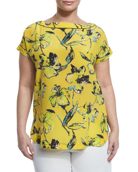 Marina Rinaldi Bebop Floral-Print Long Tunic, Plus Size