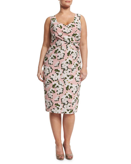 Marina Rinaldi Depliant Sleeveless Flower-Print Sheath Dress,