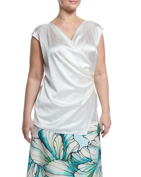 Boutique Cap-Sleeve Ruched Silk Top, Plus Size