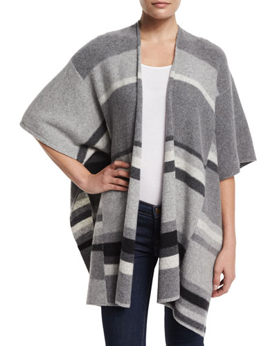 Mismatch-Stripe Open-Front Cape, Cinder Combo