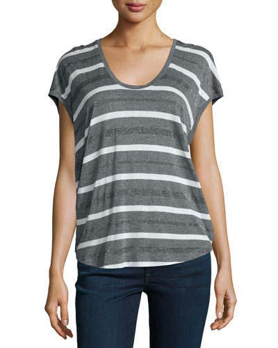 Mojave Metallic-Striped Top, Steel