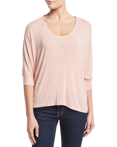 Drapey Lux 3/4-Sleeve Top, Dusty Rose