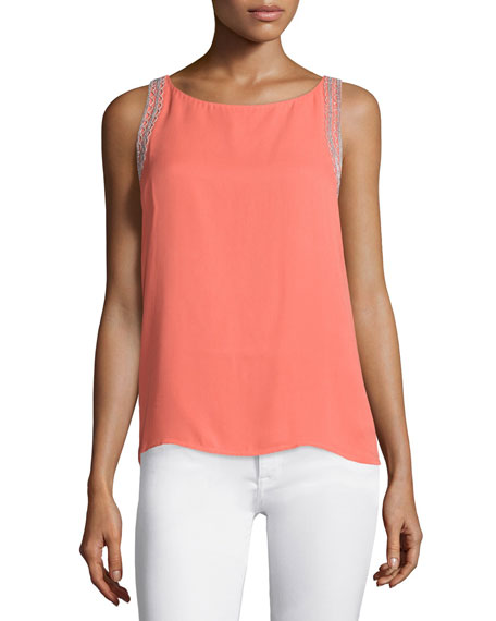 Rebecca Minkoff Mahesh Sleeveless Embroidered Top, Coral