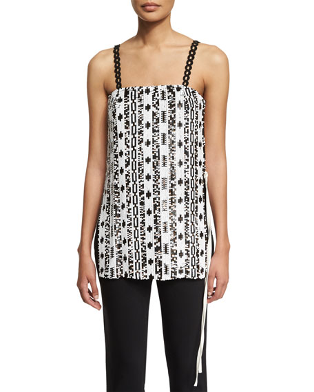 3.1 Phillip Lim Silk Sequined Bohemian Tank, White/Copper