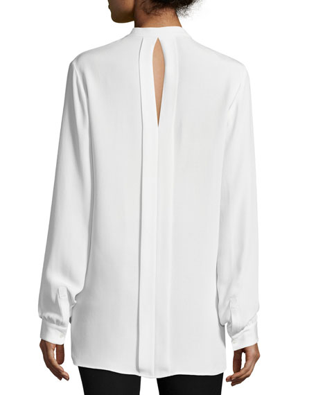 Long-Sleeve Silk Split-Back Tunic, Off White