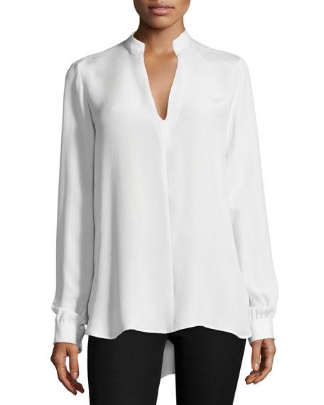 Long-Sleeve Silk Split-Back Tunic, Off White