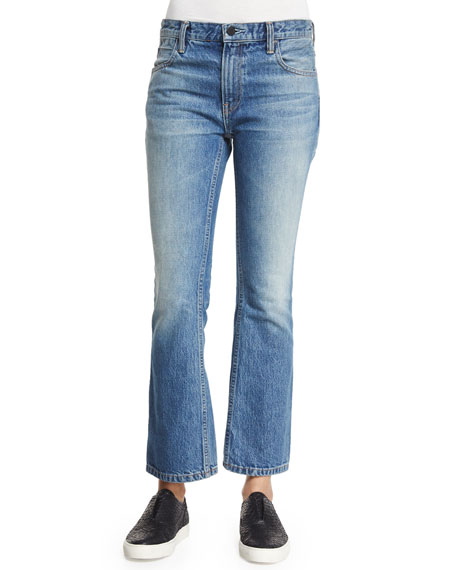 T by Alexander Wang Trap Cropped Boot-Cut Jeans,