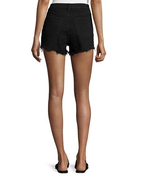 T by Alexander Wang Bite High-Rise Frayed Shorts, Black Fade