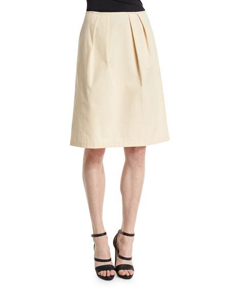 Lafayette 148 New York Pleated A-Line Skirt, Cornsilk