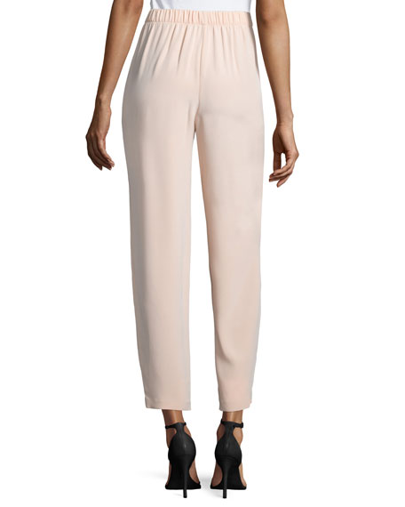 Pleated-Front Cropped Pants, Peach Sorbet