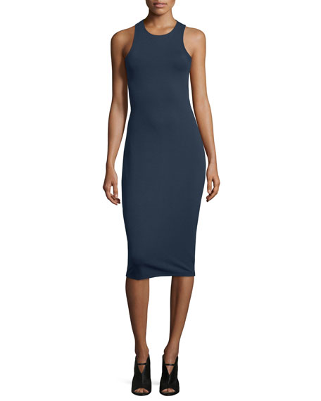 T by Alexander Wang Sleeveless Ponte Bandeau Midi Dress, Marine