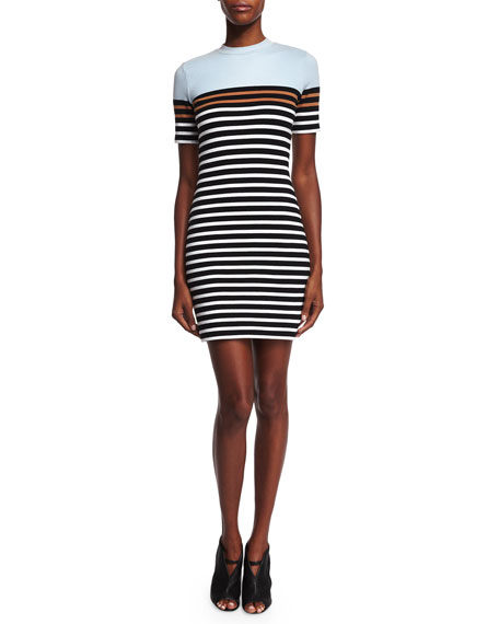 T by Alexander Wang Striped Stretch Sheath Dress, Ice/Multicolor