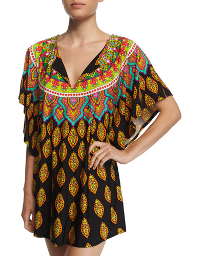 Moroccan Medallion-Print Tunic Coverup